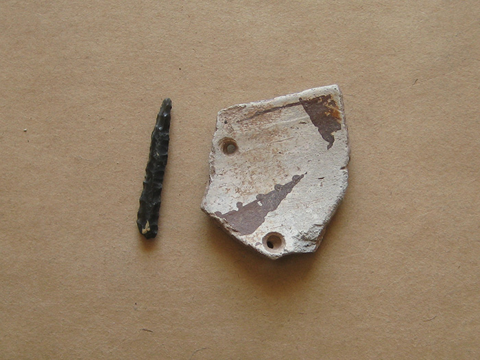 Stone drill and pottery sherd with hole drilled through it (ARC# 40905).